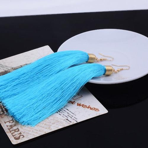 Chic Long Tassel Drop Earrings - Fantasy Jewelry Online