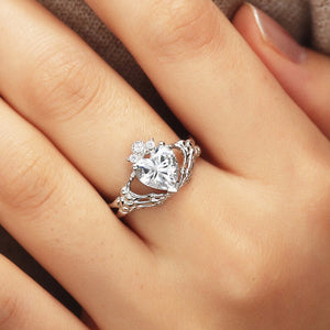 Claddagh Heart Of Love Skeleton Hands Of Eternity Ring