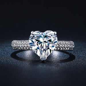 April Birthstone Classic Heart Diamond Princess Ring - Fantasy Jewelry Online