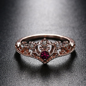 July Birthstone Ruby Crown Heart Princess Ring - Fantasy Jewelry Online