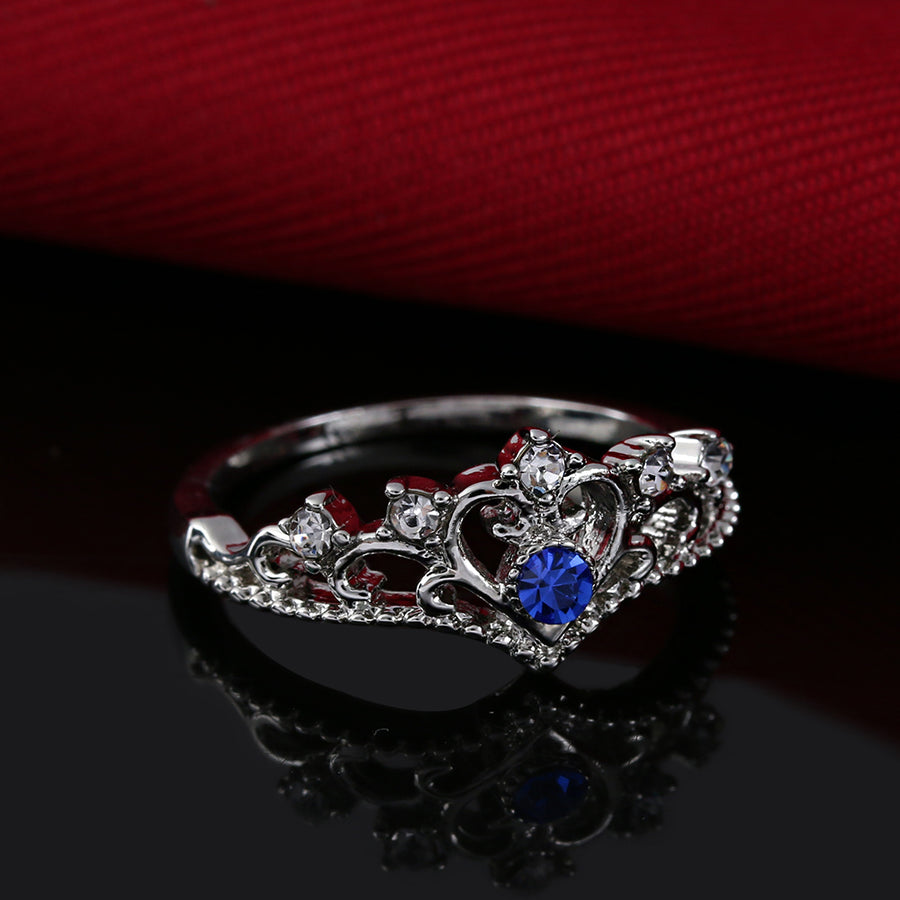 September Birthstone Sapphire Crown Heart Princess Ring - Fantasy Jewelry Online
