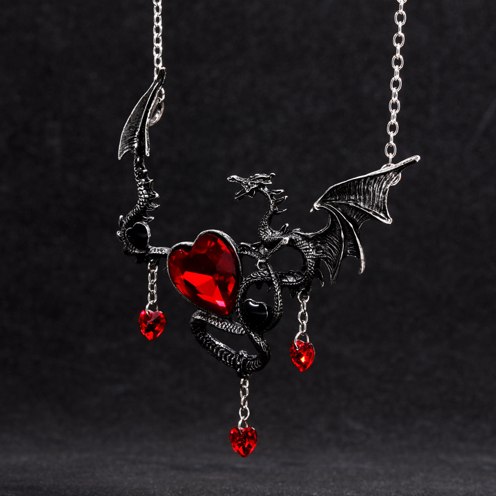 Crystal Heart Dragon Pendant Necklace - Fantasy Jewelry Online