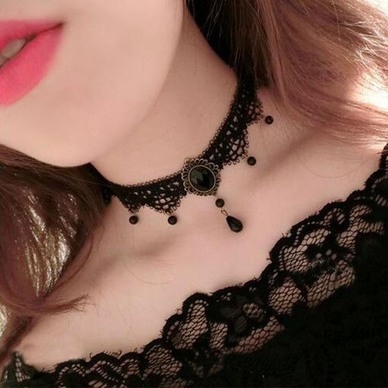 Crystal Pendant And Beads Charm Lace Choker - Fantasy Jewelry Online