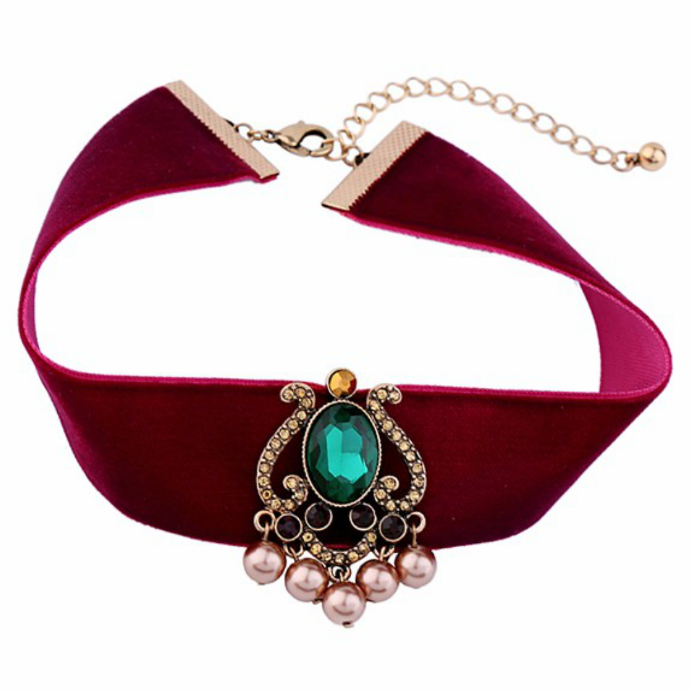 Crystal Red Velvet Ribbon Choker Necklace - Fantasy Jewelry Online