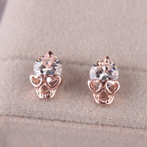 Crystal Skull Stud Earrings - Fantasy Jewelry Online