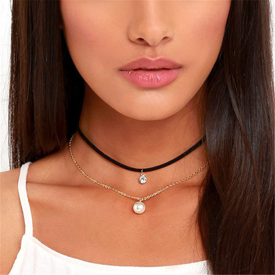 Crystal and Imitation Pearl Choker Necklace - Fantasy Jewelry Online