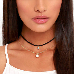Crystal and Imitation Pearl Choker Necklace - June Birthstone Pearl - Fantasy Jewelry Online