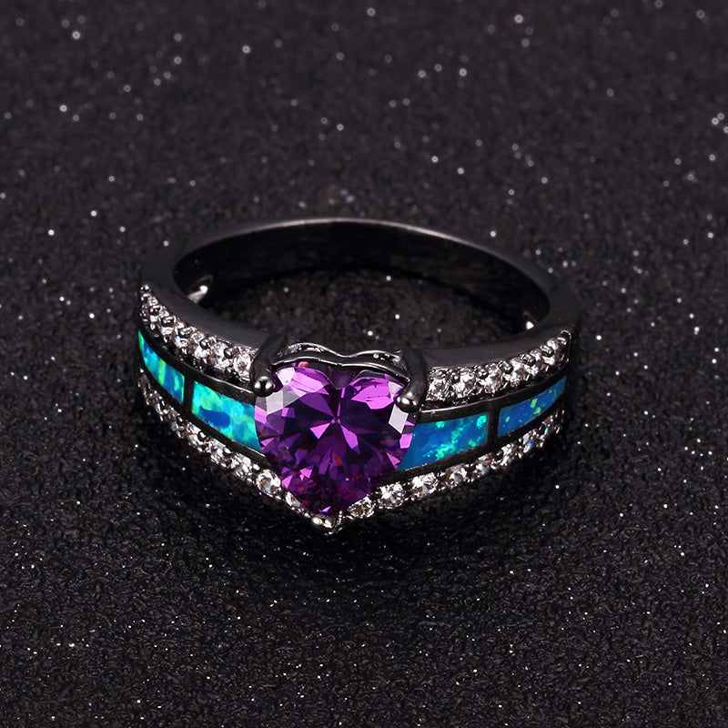 February Birthstone Amethyst Heart Ring - Fantasy Jewelry Online