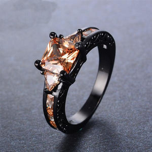 December Birthstone Champagne Zircon Black Gold Filled Trillion Princess Ring - Fantasy Jewelry Online