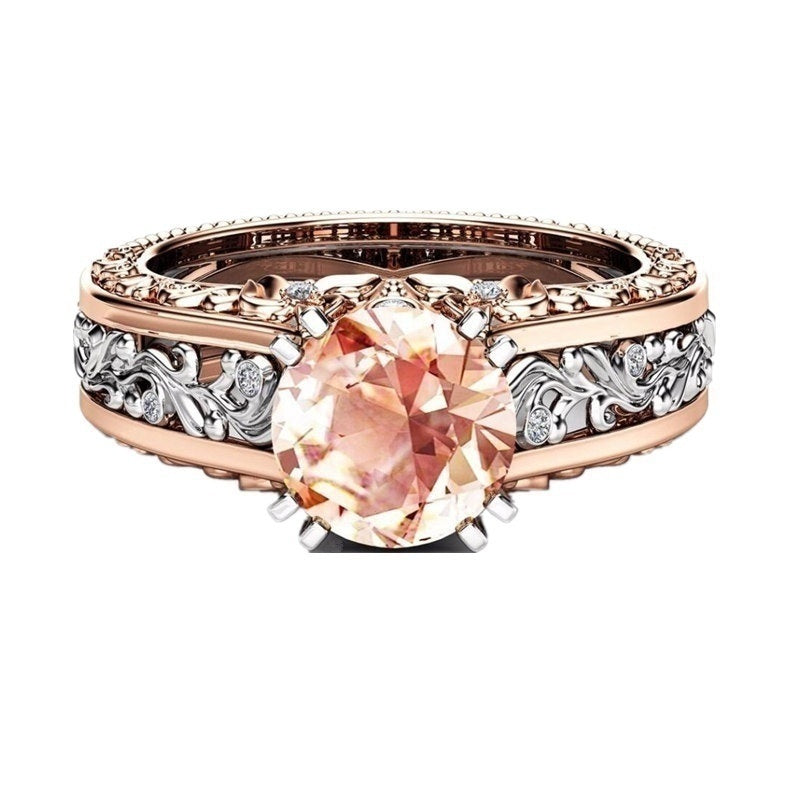December Birthstone Champagne Zircon Bouquet Princess Ring - Fantasy Jewelry Online