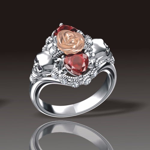 Double Heart Skull Rose Princess Ring - Fantasy Jewelry Online