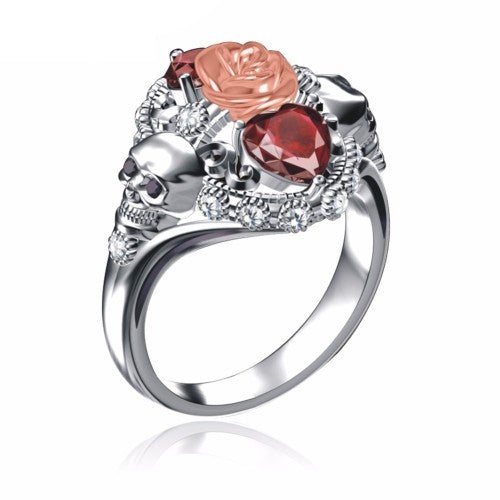 Double Heart Skull Rose Princess Ring