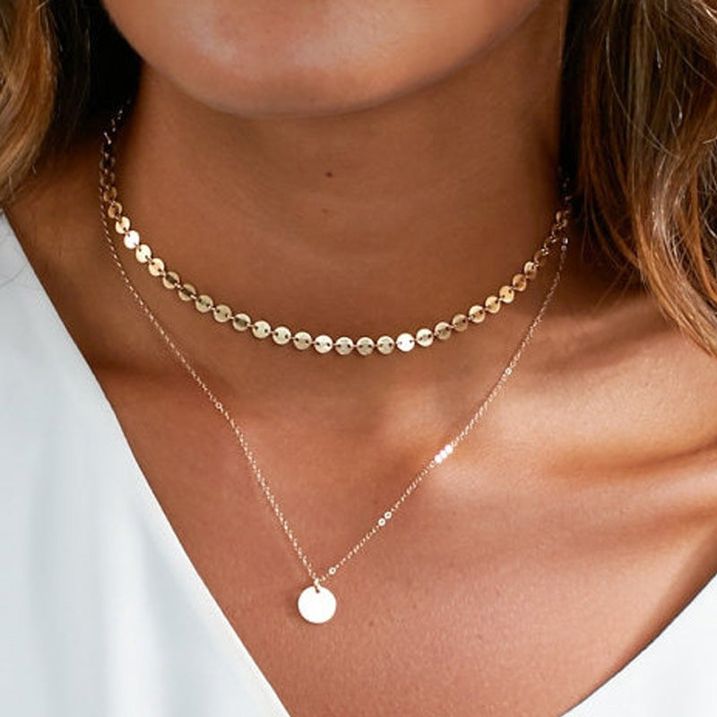 Double Layer Multi-Disc Coin Choker Necklace