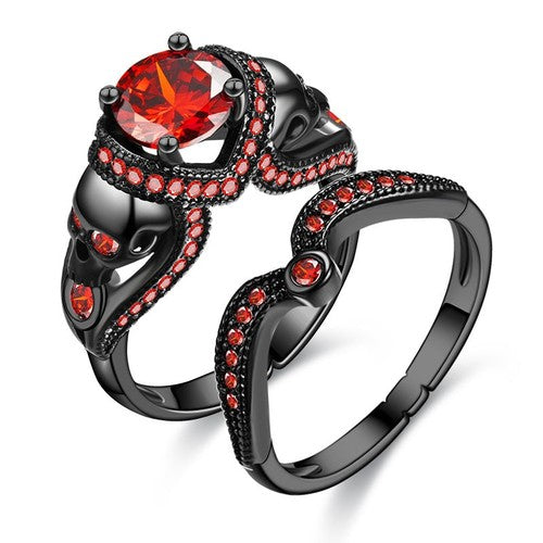 Double Skull Princess Ring Set - Fantasy Jewelry Online