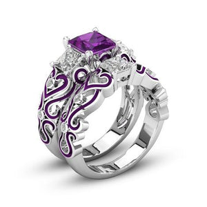 February Birthstone Amethyst Princess Ring Set - Fantasy Jewelry Online