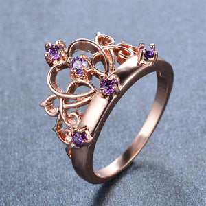 February Birthstone Amethyst Rose Gold Filled Crown Heart Princess Ring - Fantasy Jewelry Online