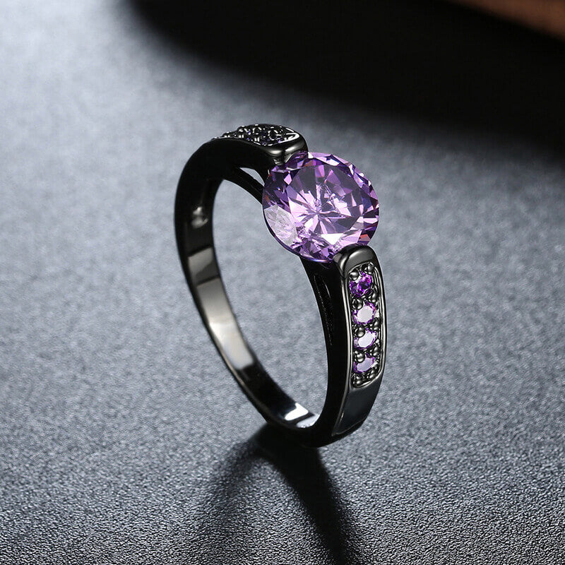 February Birthstone Amethyst Solitaire Goth Princess Ring - Fantasy Jewelry Online