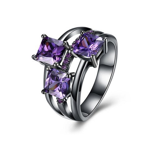 February Birthstone Amethyst Trinity Ring - Fantasy Jewelry Online