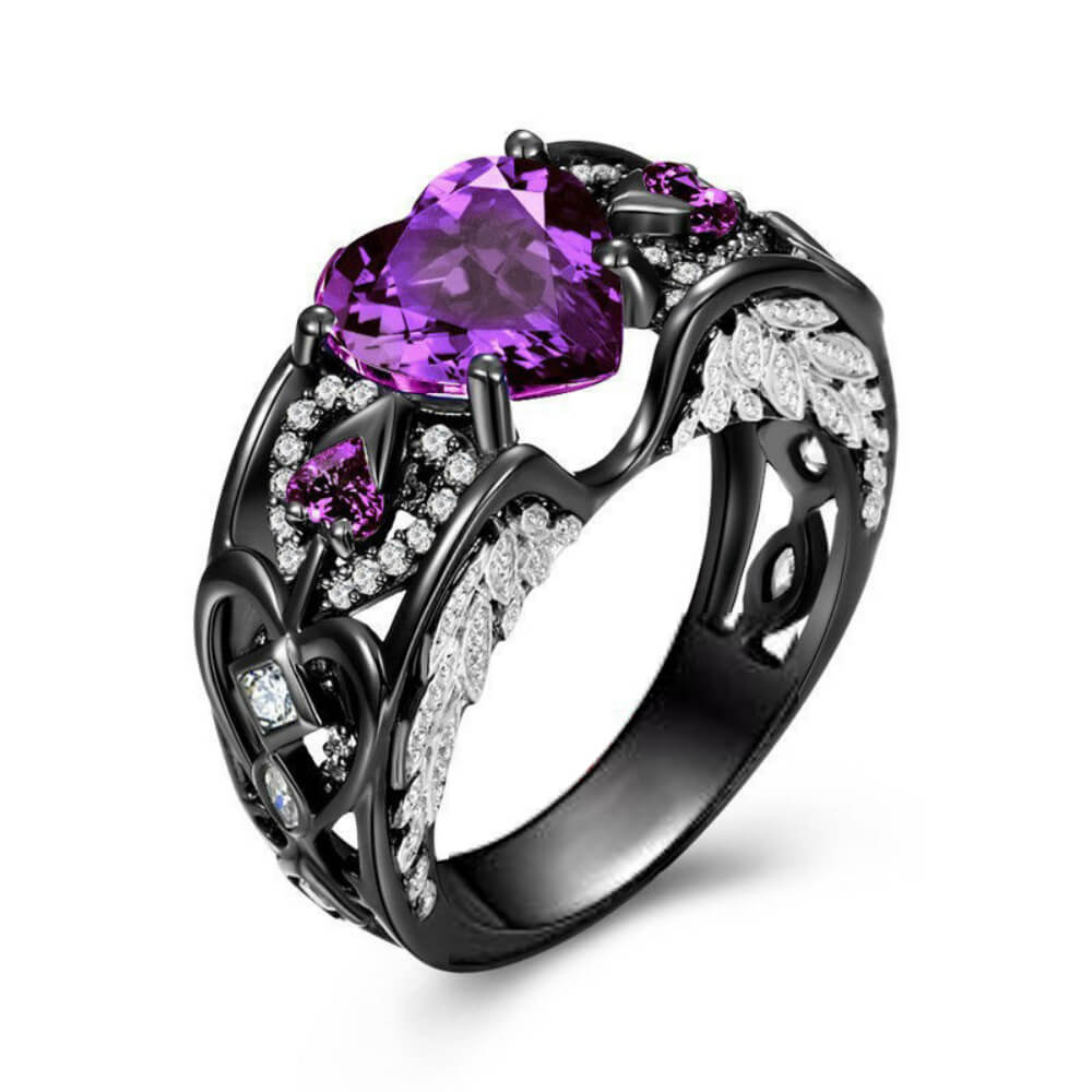 February Birthstone Black Gold Filled Amethyst Angel Wing Ring - Fantasy Jewelry Online