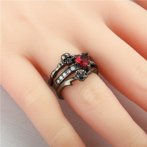 Floral Heart Skull And Bones Princess Black Gold Ring Set - Fantasy Jewelry Online