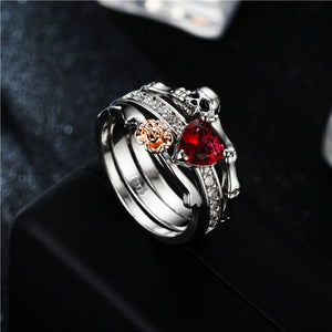 Floral Heart Skull And Bones Princess Ring Set