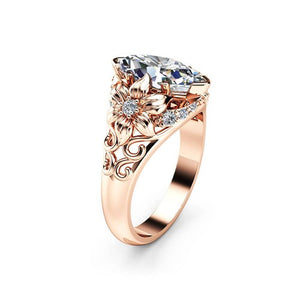 Floral Marquise Rose Gold Princess Ring