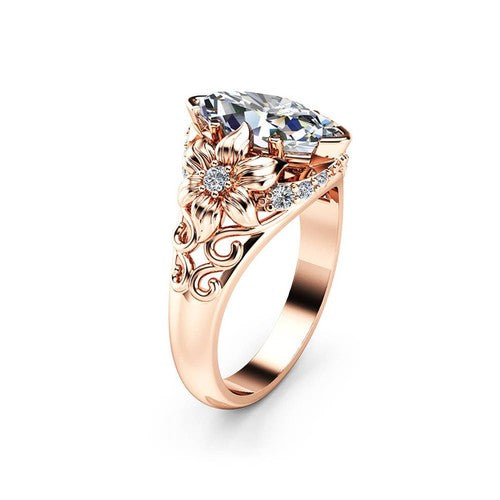 Floral Marquise Rose Gold Princess Ring - Fantasy Jewelry Online