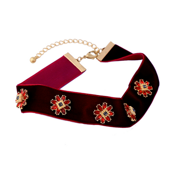 Floral Red Velvet Ribbon Choker Necklace - Fantasy Jewelry Online