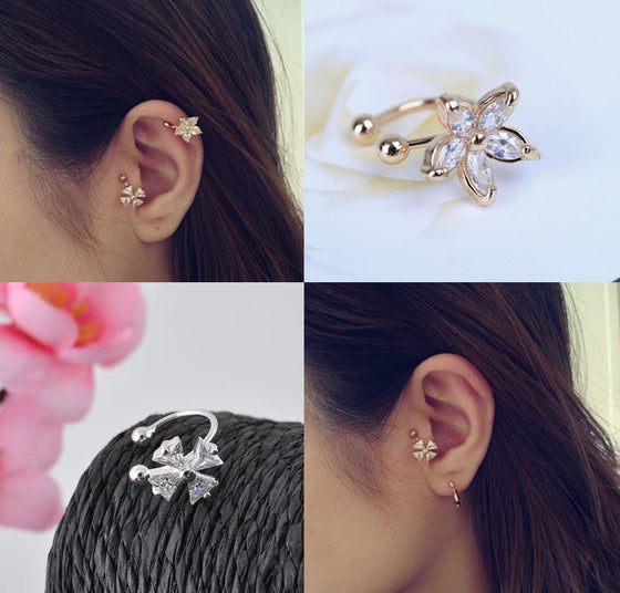 Crystal Flower Wrap Ear Cuff - Fantasy Jewelry Online