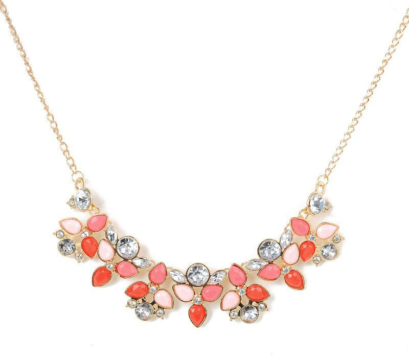 Leaf Colourful Rhinestone Statement Necklace