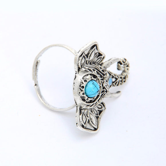 Bohemian Turquoise Lucky Elephant Ring - Fantasy Jewelry Online