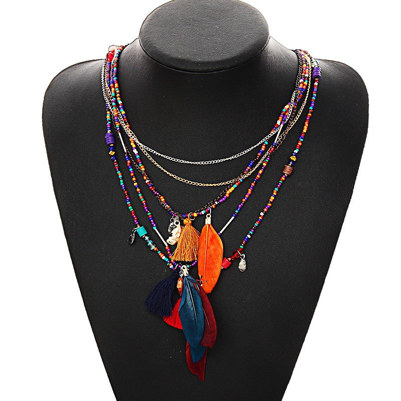Colorful Multi-strand Feather and Beads Tassel Necklace - Fantasy Jewelry Online