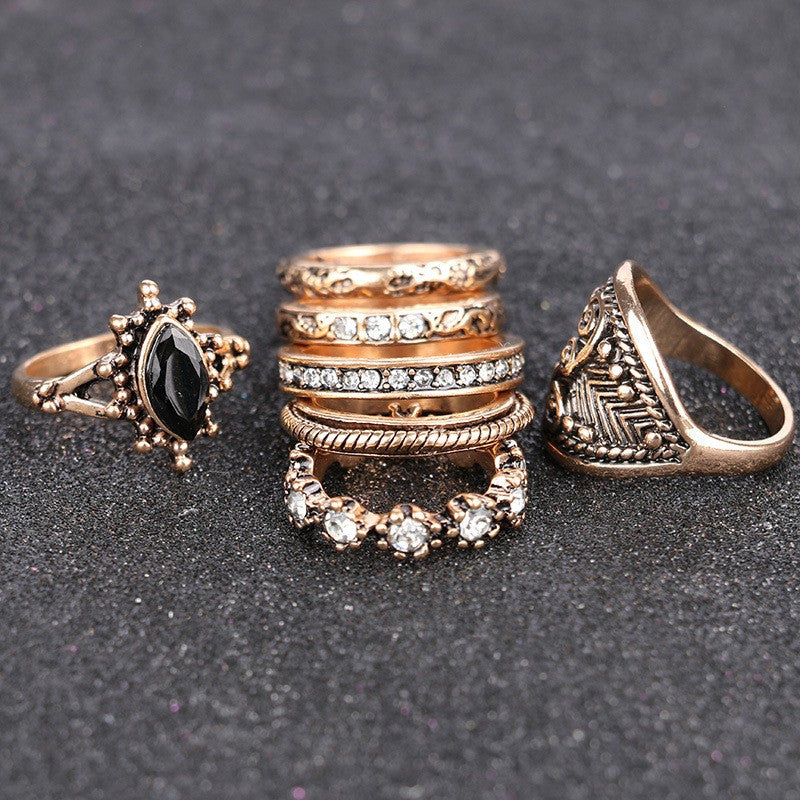 7 piece Vintage Punk Rings Set