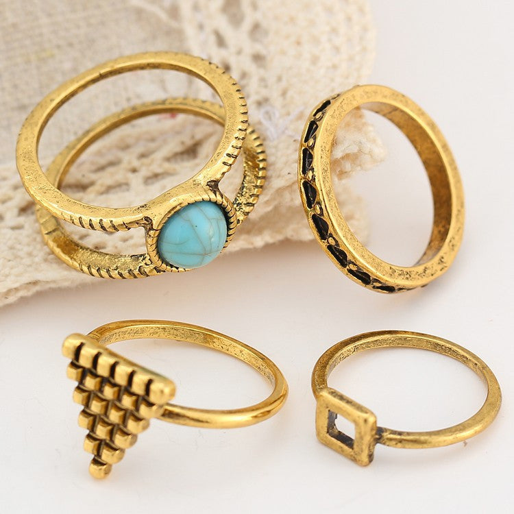 4 Piece Bohemian Geometric Rings Set - Fantasy Jewelry Online