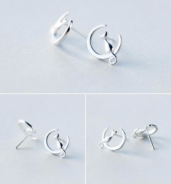 925 Sterling Silver Cat and Moon Stud Earrings - Fantasy Jewelry Online