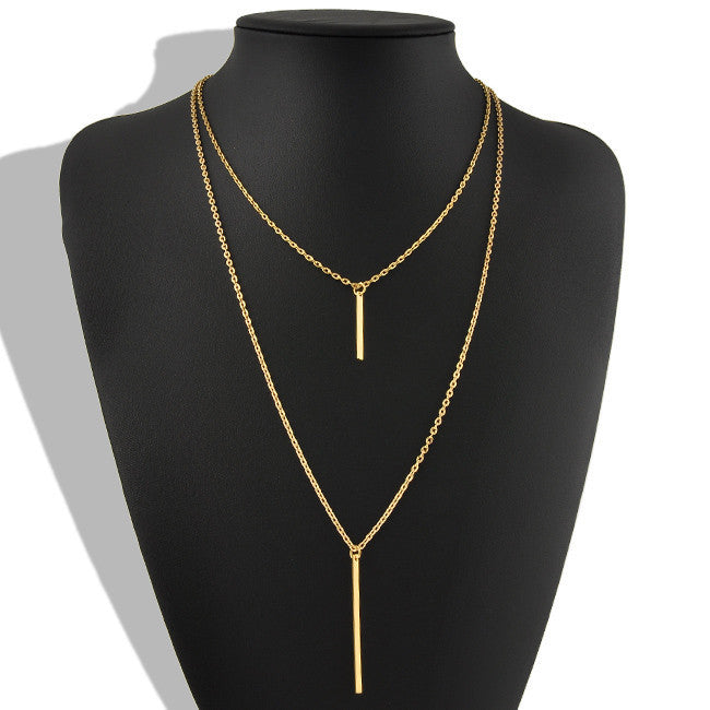 Double Layer Chain Bar Pendant Necklace - Fantasy Jewelry Online