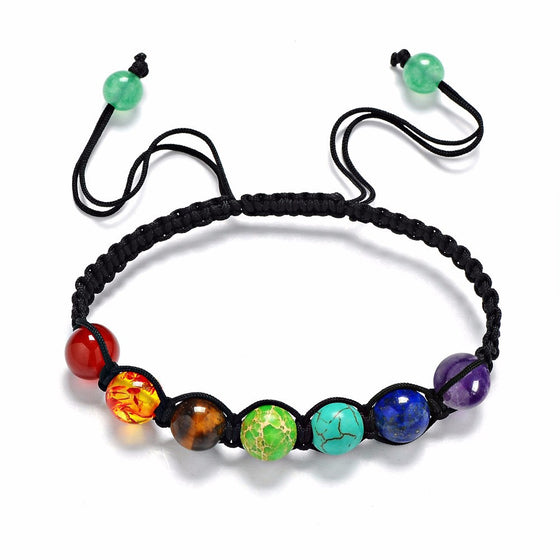 8mm Multi-color 7 Chakra Healing Balance Beads Bracelet - Fantasy Jewelry Online