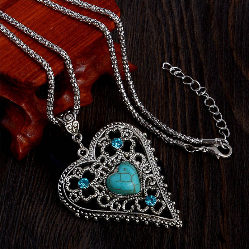 Heart Turquoise Stone Pendant Necklace - Fantasy Jewelry Online