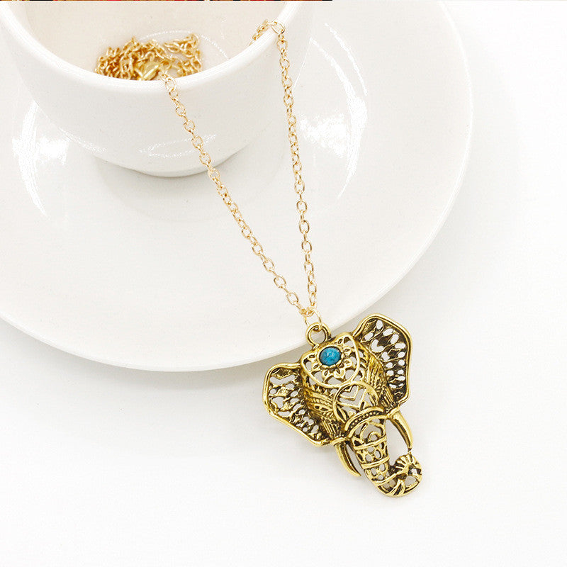 Turquoise Elephant Pendant Necklace - Fantasy Jewelry Online