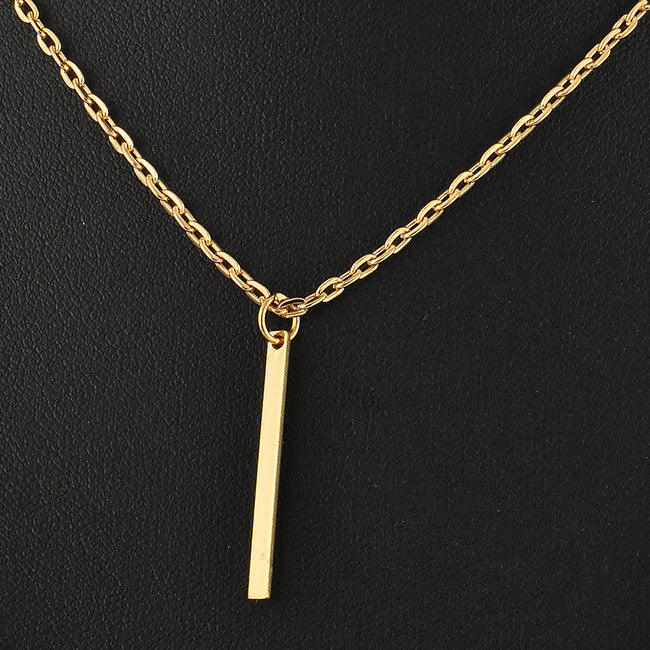 Double Layer Chain Bar Pendant Necklace