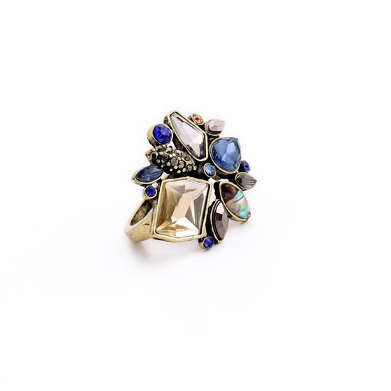Elegant Geometric Rhinestone Statement Ring - Fantasy Jewelry Online
