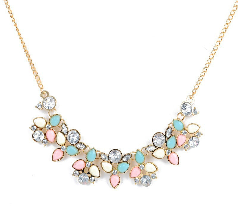 Leaf Colorful Crystal Statement Necklace - Fantasy Jewelry Online