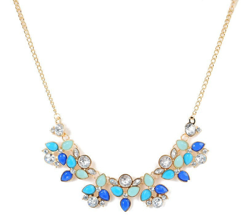 Leaf Colourful Rhinestone Statement Necklace - Fantasy Jewelry Online
