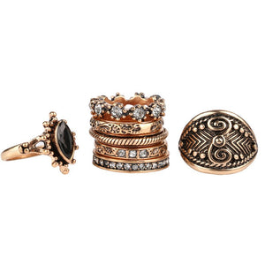 7 piece Vintage Punk Rings Set - Fantasy Jewelry Online