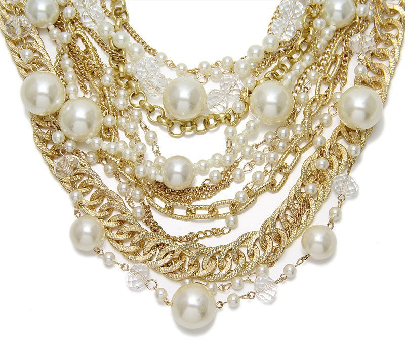 Multistrand Mixed Chain Pearl Necklace