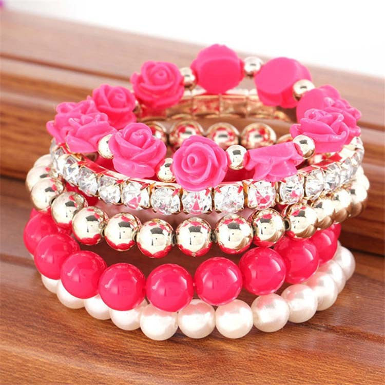 Multistrands Stretch Rose Beaded Bracelet - Fantasy Jewelry Online