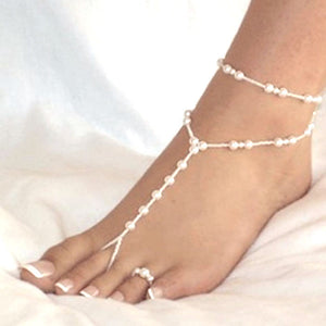 Faux Pearl Anklet Barefoot Beach Sandals with Toe Ring - June Birthstone Pearl - Fantasy Jewelry Online