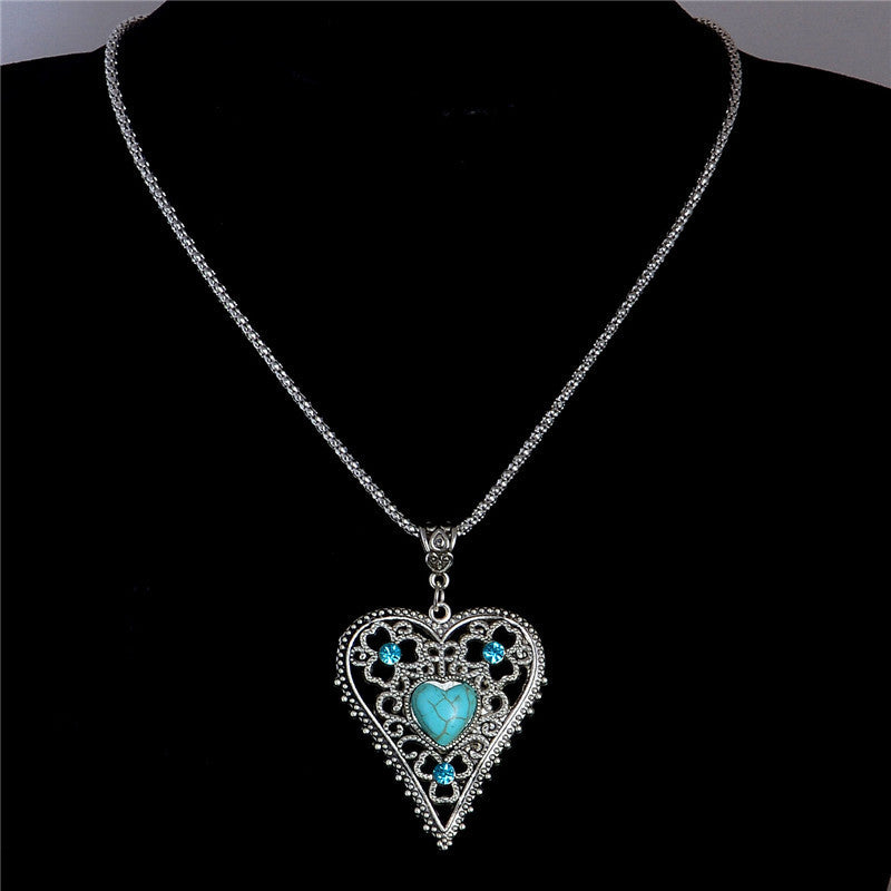 Heart Turquoise Stone Pendant Necklace