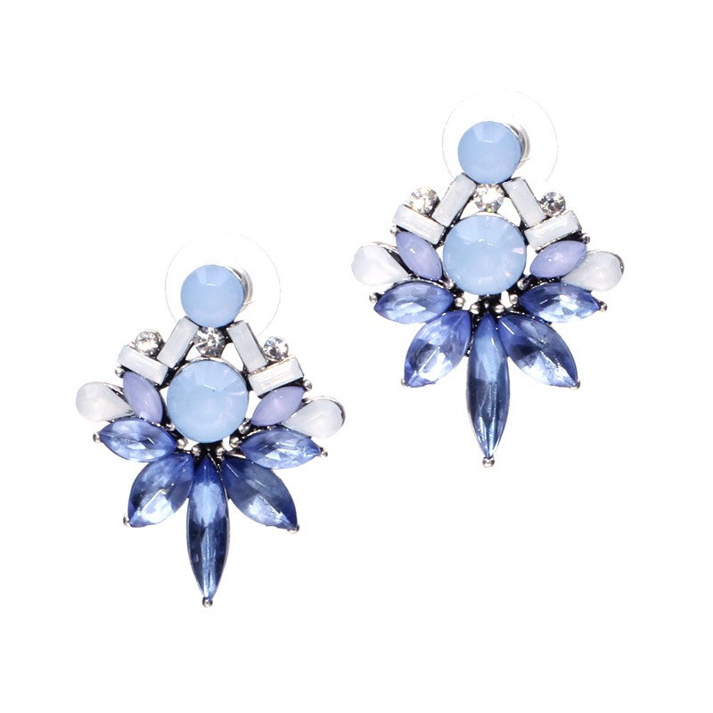Elegant Crystal Statement Stud Earrings - Fantasy Jewelry Online