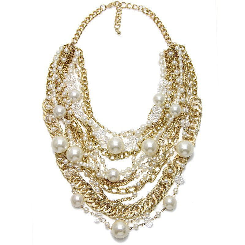 Multistrand Mixed Chain Pearl Necklace - Fantasy Jewelry Online